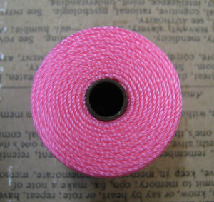 S- Lon bead cord - Neon Pink / Neon Rosa, 1 rulle