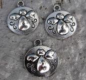 Berlock silverfärgad - Rund platta med ängel, 3- pack