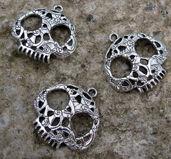 Berlock silverfärgad - Mumiferad döskalle, 3- pack