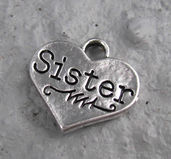 "Berlock silverfärgad - Hjärta ""Sister"", 1 styck"