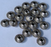 Mellandel silver - Rondell randig, 8x5mm, 20- pack