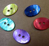 Pärlemoknappar - Oval mix,  15x11mm, 5- pack